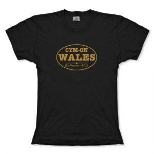 Cym-On Wales Gold Oval Six Nations 2012 Ladies tshirt