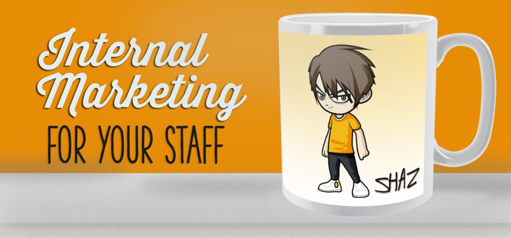 Personalised mugs for internal marketing